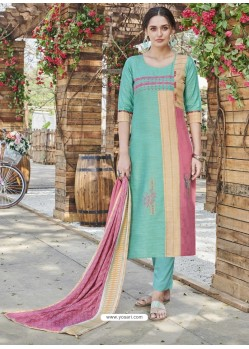 Multi Colour Fabulous Readymade Designer Party Wear Straight Salwar Suit