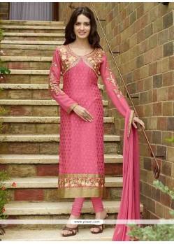 Majestic Hot Pink Brasso Designer Straight Salwar Suit