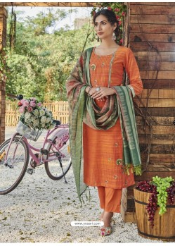 Orange Fabulous Readymade Designer Party Wear Straight Salwar Suit