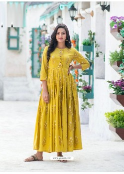 Yellow Gorgeous Designer Party Wear Maslin Kurti