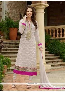 Exuberant Off White Resham Work Brasso Designer Straight Salwar Kameez