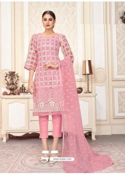 Pink Party Wear Designer Butterfly Net Straight Salwar Suit