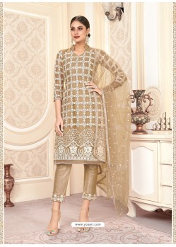 Beige Party Wear Designer Butterfly Net Straight Salwar Suit