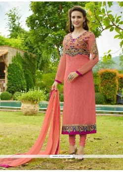 Vivacious Embroidered Work Hot Pink Brasso Designer Straight Salwar Kameez