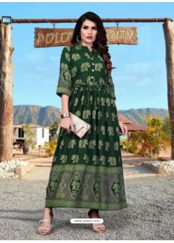 Dark Green Gorgeous Designer Party Wear Heavy Rayon Kurti