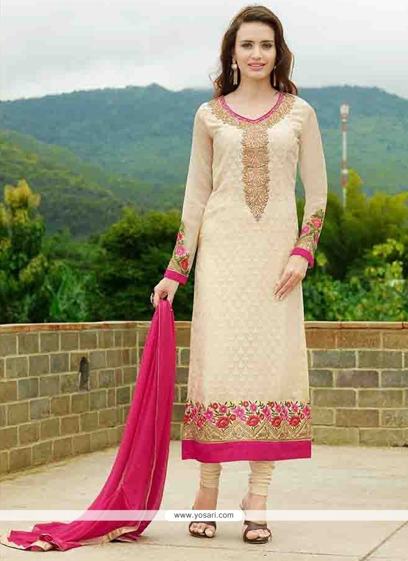 Best Cream Embroidered Work Straight Suit