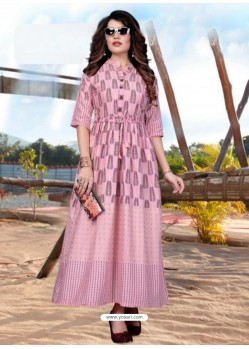 Pink Gorgeous Designer Party Wear Heavy Rayon Kurti