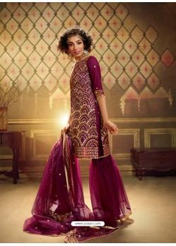 Medium Violet Heavy Designer Party Wear Soft Net Sharara Suit