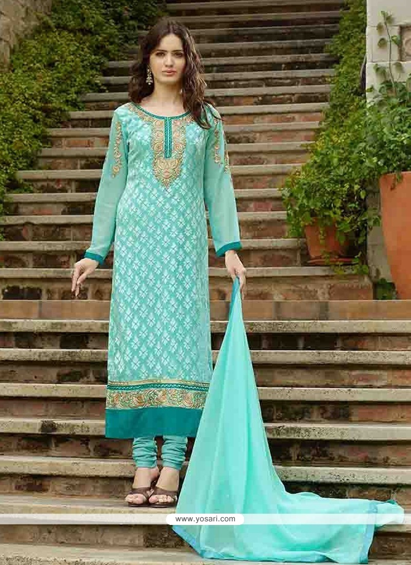 Delectable Turquoise Designer Straight Salwar Suit