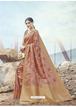 Pink Embroidered Designer Classic Wear Banarasi Silk Sari