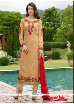 Surpassing Resham Work Beige Designer Straight Salwar Kameez