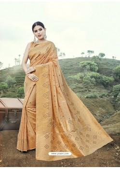 Mustard Embroidered Designer Classic Wear Banarasi Silk Sari