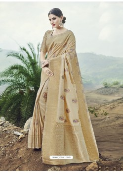 Gold Embroidered Designer Classic Wear Banarasi Silk Sari