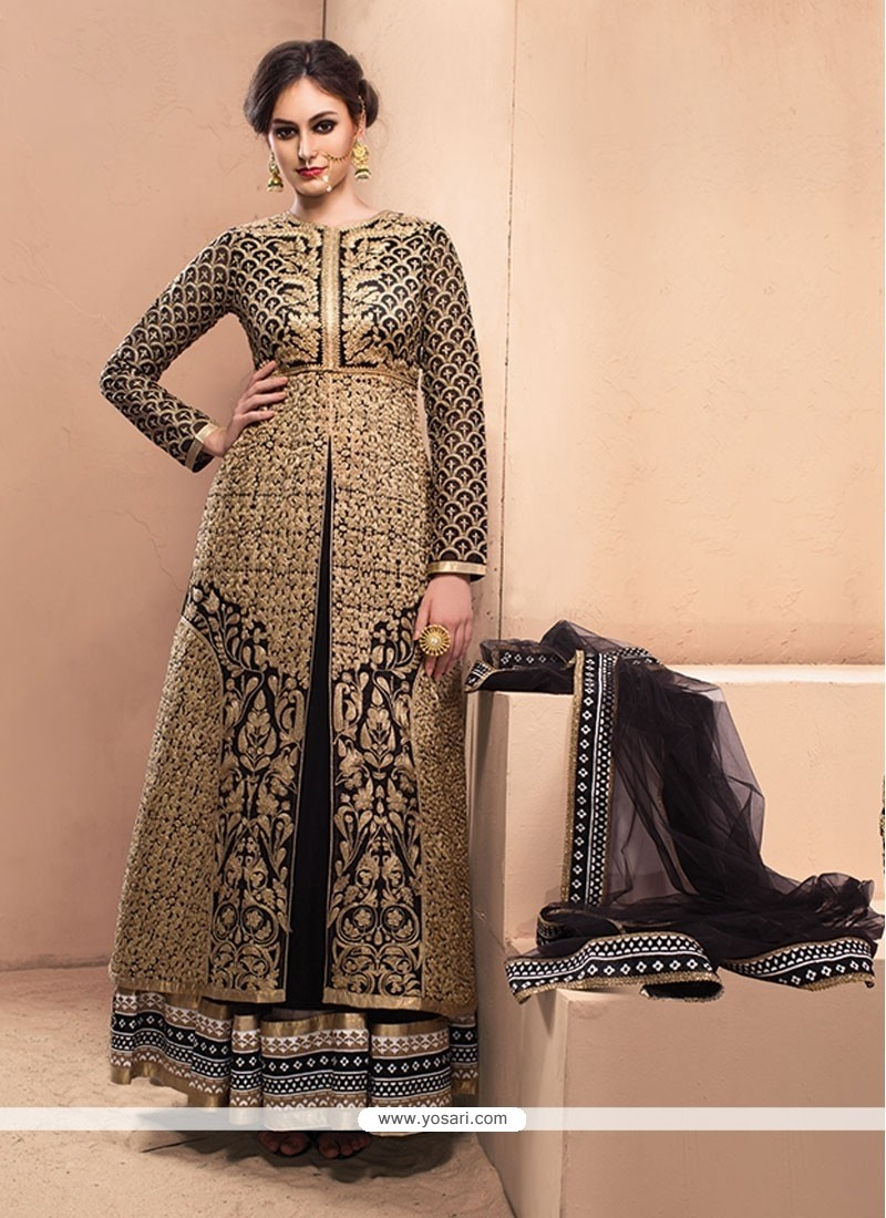 Lively Black Resham Work Anarkali Salwar Suit