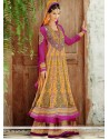 Fascinating Pink And Yellow Net Anarkali Suits