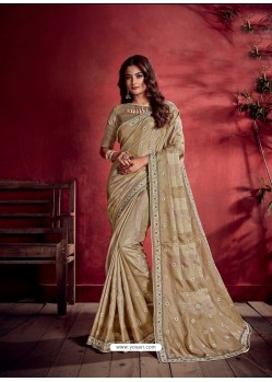 Beige Ravishing Designer Party Wear Art Silk Sari