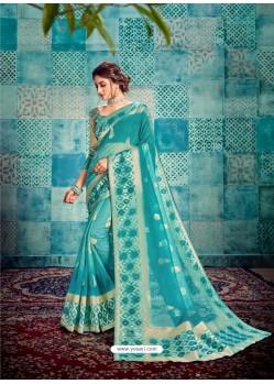 Blue Stunning Designer Party Wear Sari