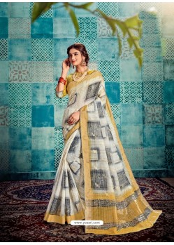 White Stunning Designer Party Wear Sari