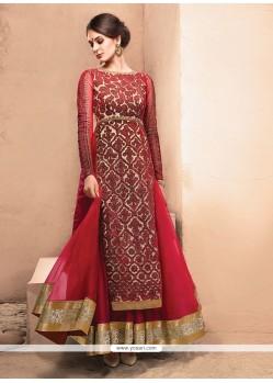 Gleaming Net Red Zari Work Anarkali Salwar Kameez