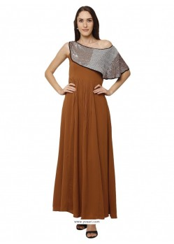 Rust Sensational Designer Party Wear Gown