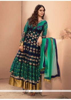 Incredible Net Green And Blue Resham Work Anarkali Salwar Kameez