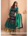 Incredible Net Green And Blue Resham Work Anarkali Salwar Kameez