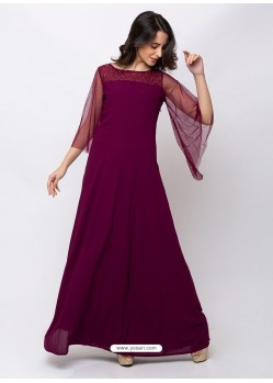 Deep Wine Sensational Designer Party Wear Gown