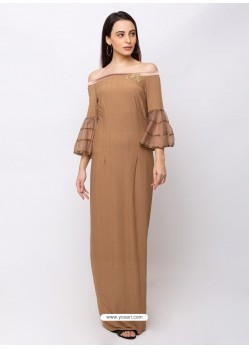 Beige Sensational Designer Party Wear Gown