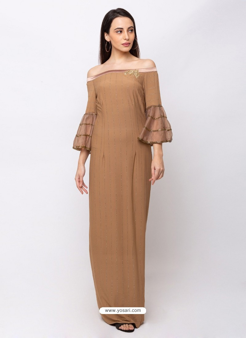 Beige Sensational Designer Party Wear Gown