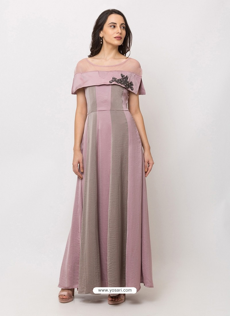 Dusty Pink Sensational Designer Party Wear Gown