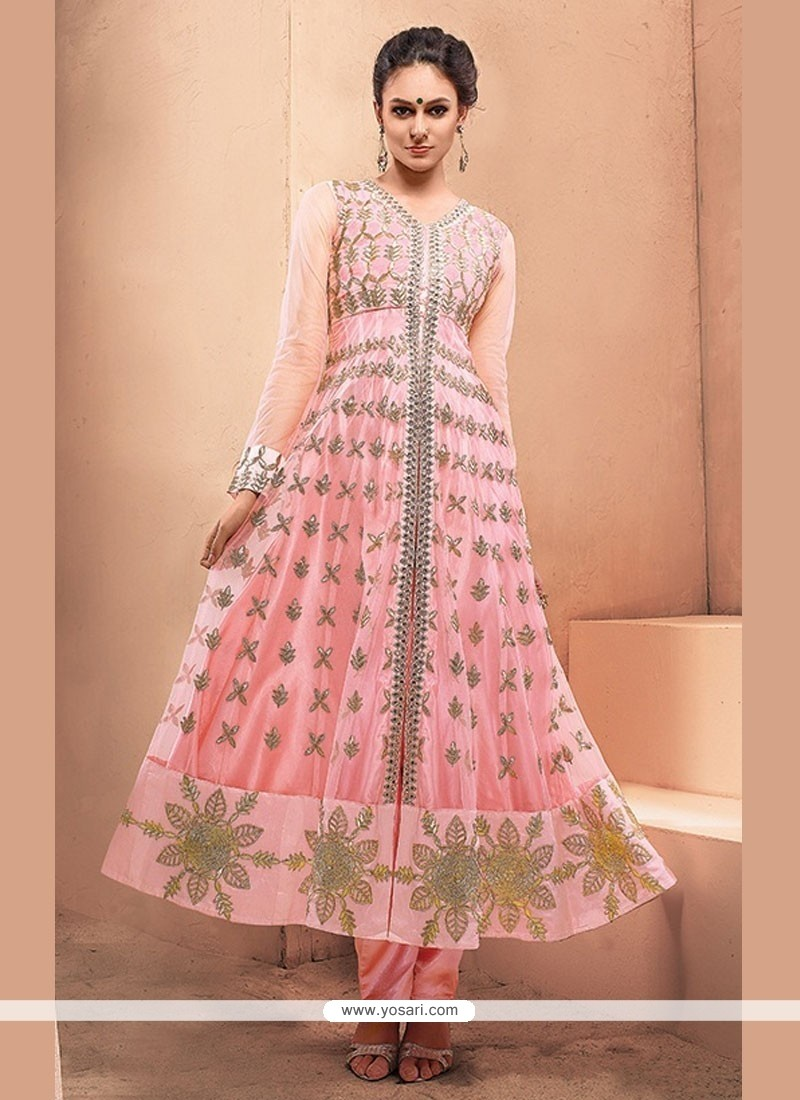 Whimsical Zari Work Hot Pink Net Anarkali Salwar Suit
