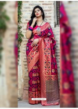 Multi Colour Weaving Designer Classic Wear Banarasi Silk Sari