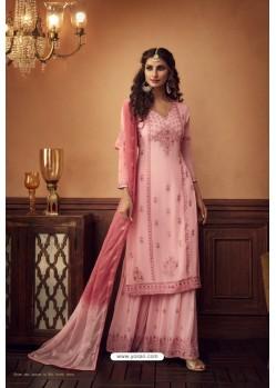 Pink Heavy Designer Party Wear Faux Georgette Palazzo Suit