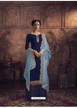 Royal Blue Heavy Designer Party Wear Vichitra Georgette Palazzo Suit