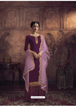 Deep Wine Heavy Designer Party Wear Vichitra Georgette Palazzo Suit