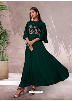 Dark Green Fabulous Designer Party Wear Heavy Rayon Kurti