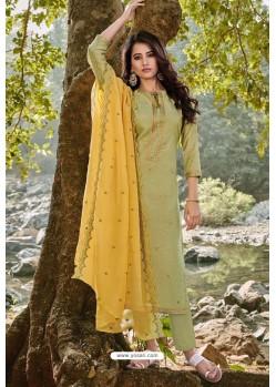 Green Designer Embroidered Cotton Chanderi Straight Salwar Suit