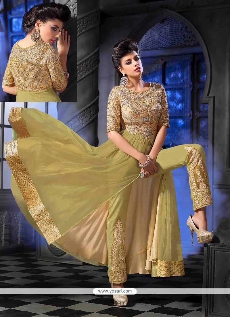 Brilliant Georgette Green Designer Suit