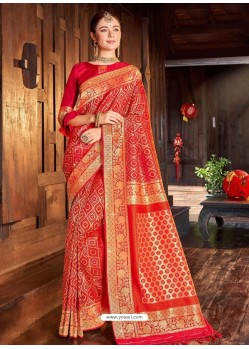 Red Weaving Designer Traditional Wear Silk Sari