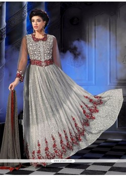 Lavish Net Grey Embroidered Work Anarkali Salwar Kameez