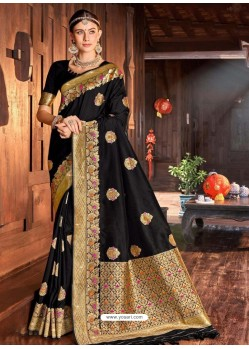 Black Weaving Designer Traditional Wear Silk Sari