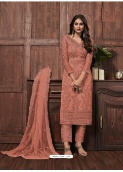 Light Orange Fabulous Designer Party Wear Heavy Net Palazzo Suit