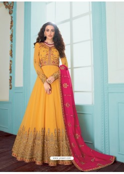 Yellow Stunning Heavy Designer Faux Georgette Party Wear Anarkali Suit