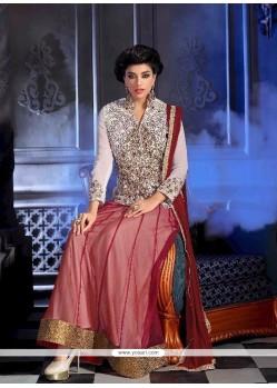 Irresistible Bhagalpuri Silk Maroon Designer Suit