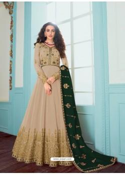 Light Beige Stunning Heavy Designer Faux Georgette Party Wear Anarkali Suit