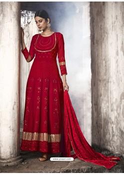 Red Heavy Designer Faux Georgette Party Wear Anarkali Suit