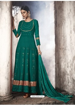 Teal Heavy Designer Faux Georgette Party Wear Anarkali Suit