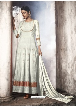 White Heavy Designer Faux Georgette Party Wear Anarkali Suit