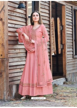 Peach Heavy Embroidered Designer Dola Silk Anarkali Suit