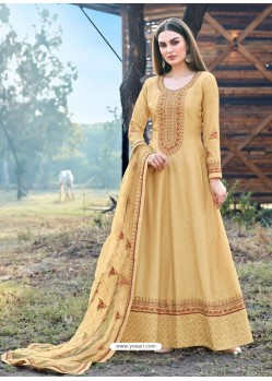 Cream Heavy Embroidered Designer Dola Silk Anarkali Suit